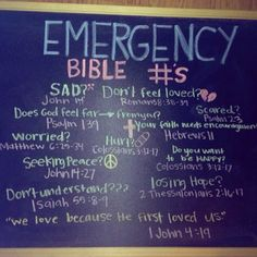 Emergency Bible Verse's. I love this! I want this in my house (: