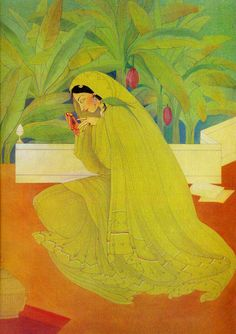 Abdur Rahman Chughtai was a painter and intellectual from Pakistan, who created his own unique, distinctive painting style influenced by Mughal art, miniature painting, Art Nouveau and. Mughal Paintings, Indian Art Paintings, Abstract Paintings, Oil Paintings, Indian Folk Art, Indian Artist, India Painting, Gallery Of Modern Art, India Art