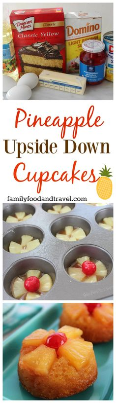 Pineapple Upside Down Cupcakes - a delicious twist on a classic cake recipe. Made with a cake mix to cut down on prep time.