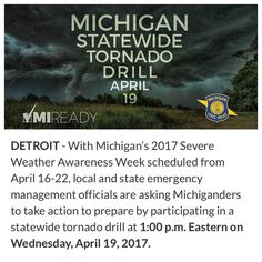 Heads ups Michiganders! You'll probably hear tornado sirens across the state today - here's why: there is a statewide tornado drill at 1:00 p.m. Eastern on Wednesday April 19 2017. Government agencies organizations families and individuals are encouraged to be a part of this statewide preparedness activity but are not required to do so. Nearly all state of Michigan facilities will be participating. #michigan #beprepared #springweather #knowwhattodoinanemergency