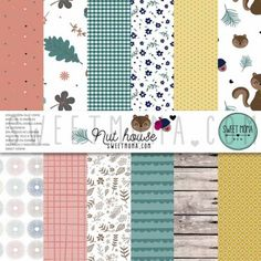 Set 12 papeles doble cara Sweet Möma - Nut House Kit, Moma, Diagram, House, Quilts, Blanket, Paper, Sweet, Scrapbooking