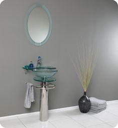 Fresca Ovale Modern Glass Bathroom Vanity w/ Vessel Sink, Mirror, & Faucet