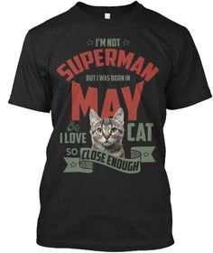 Born In May Cat Lover Men's T Shirt Black T-Shirt Front