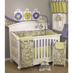 The Periwinkle eight-piece set includes an adorable dust ruffle, soft bumper and convenient crib sheet. A toy bag, pillow pack and diaper stacker help keep your little one's nursery clutter-free and o