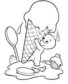 Halloween Ghost Coloring Page - Halloween Ghost Ice Cream - Free ...