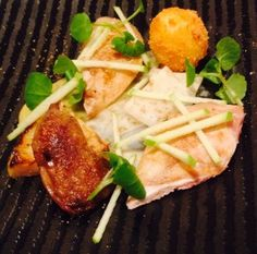 Norfolk Quail and Egg with Roasted Apple Puree, Slow Cooked Celeriac and Watercress