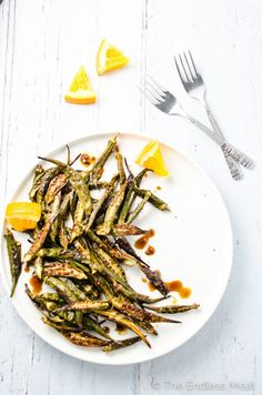 Orange Balsamic Roasted Okra