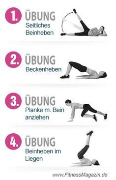 """4 Uebungen Bauch Beine Po. Übungen um die """"Problemzonen"""" zu straffen und in Form zu halten. Jetzt ausprobieren."""