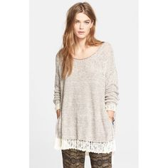 """✨S A L E✨Free People Haiku Pullover Sweater Like new. No flaws. --- Knit from a chunky cotton blend infused with a soft hint of linen, this oversized sweater is crafted for incredible comfort. Pointelle detailing at the yoke and sleeves reveals flashes of bare skin, while open-stitch fringe trims at the cuffs and vented high/low hem provide a swingy finish. 26"""" front length; 28 1/2"""" back length  81% cotton, 8% polyester, 6% nylon, 5% linen. Hand wash cold, dry flat. By Free People; imported…"""
