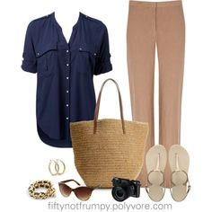 A fashion look from June 2013 featuring navy blue shirt, summer pants and Havaianas. Browse and shop related looks. Sightseeing Outfit, Travel Wardrobe, Forever New, Fashion Over 50, Khaki Pants, Cute Outfits, Vogue, Style Inspiration, Aging Gracefully