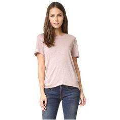IRO.JEANS Luciana Tee ($105) ❤ liked on Polyvore featuring tops, t-shirts, peach, slouch tee, peach top, linen tee, pink top and slouchy t shirts
