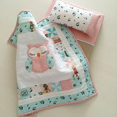 Sweet little doll quilt made with Country Girls fabric designed by Tasha Noel for Riley Blake Designs #countrygirls #tashanoel #rileyblakedesigns #dollquilt
