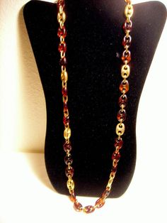 Vintage Tortoise Necklace Links Goldtone #Chain