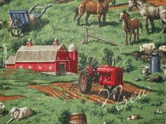 Farm Fabric BIG Red Tractor Cow Sheep Chicken PIG Farm Red Barn Silo - Pastures - Farm Scenes Scenic Country """"