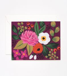Burgundy Vintage Blossoms Card, rifle paper co.