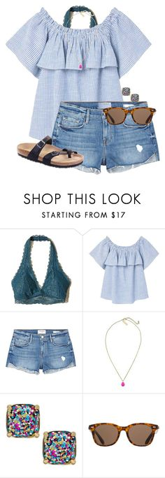 """Fun day at the beach today(read d)"" by auburnlady ❤ liked on Polyvore featuring Hollister Co., MANGO, Frame, Kendra Scott, Kate Spade, ToyShades and Birkenstock"