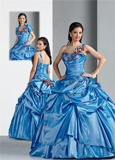 Ball Gown one-shoulder Sweetheart Floor-length with Ruffles Taffeta quniceanera dress QD084