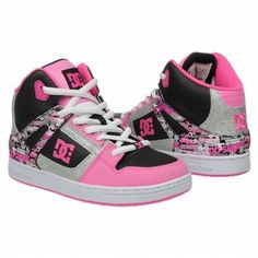 Needto get these for my girl! <3  Athletics DC Shoes Kids' Rebound Black/Silver/Pink