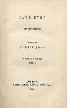 Title page of Jane Eyre, edited by Currer Bell