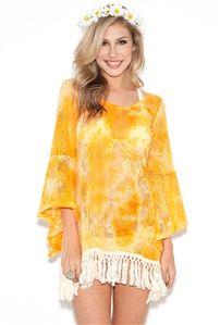 Gypsy Junkies Mimi Lace Dress in Orange Acid