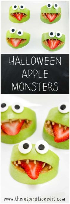 Funky Halloween Apple Monsters. Check these out!