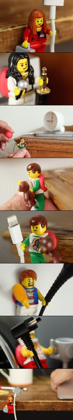 We've seen the iconic Lego toys in delightful parodies of Banksy, Star Wars, and Oscar-nominated movie posters, but it's recently been discovered that they serve a practical use, too. The Minifigures' tiny hands are exactly the right size to grip a range of cables. By combining the toys with Sugru, a moldable synthetic rubber, you can attach your phone charger to your desk in a way that's tidy, efficient, and will make you smile. Your favorite Lego character can also be stuck to your ...