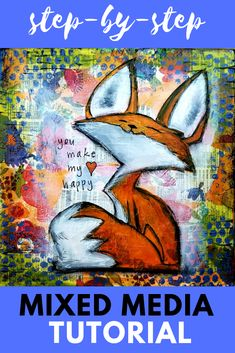 Add this whimsical fall fox painting to YOUR art journal, or create him on homemade canvas as fall wall art! In this free acrylic painting video / mixed media art tutorial, I'll teach you how EASY it is to upcycle an old r Fox Painting, Mixed Media Painting, Mixed Media Canvas, Mixed Media Collage, Painting Canvas, Mixed Media Tutorials, Art Tutorials, Journal D'art, Art Journals