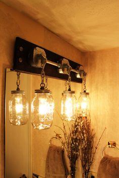 JARS OF LIGHT Industrial Mason Jar Lighting Sconce by MillerLights, $179.00