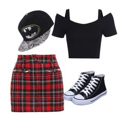 """batman hat and plaid skirt"" by aleisha-leanne-gardner-martin on Polyvore featuring Filles à papa"
