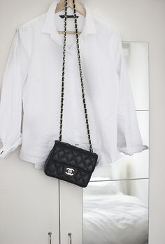 white shirt and chanel bag