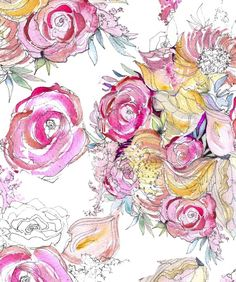 Kristy Rice / neon floral watercolor pattern