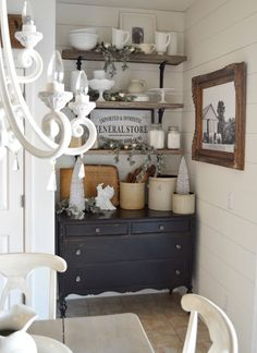 Cute corner in a farmhouse style dining room.