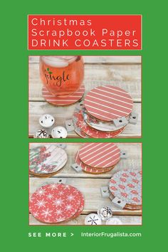 These unique DIY Christmas Scrapbook Paper Drink Coasters in fun ornament shapes are such an easy decoupage idea for holiday decor with inexpensive dollar store wood ornaments and festive scrapbook paper. #diychristmascoasters #diychristmasdecor #christmasideas Diy Christmas Decorations For Home, Christmas Craft Projects, Diy Christmas Ornaments, Christmas Crafts, Wood Ornaments, Holiday Decor, Christmas Stuff, Christmas Scrapbook Paper, Christmas Coasters