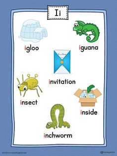 Short Letter I Word List with Illustrations Printable Poster (Color) Worksheet.Use the Short Letter I Word List with Illustrations Printable Poster to play letter sound activities or display on a classroom wall. Phonics Flashcards, First Grade Phonics, Phonics Sounds, Alphabet Phonics, Letter I Words, Alphabet Words, Letter Sounds, Alphabet Pictures, Learning English For Kids