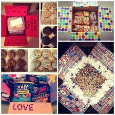Care package with letters for everyday, snacks, and candy. LOVE LOVE LOVE. I will pay someone to do this for me.