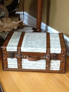 decopaged sheet music trunk
