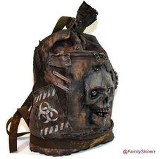 Military backpack zombie biohazard , leather zombi, walking dead Post-Apocalyptic bag skull , Big backpack Mad Max zombi mask, Steampunk bag