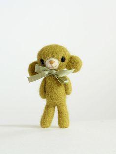 Kawaii Jewelry/ Needle Felted Monkey Brooch/ Woolen by FeltedGift
