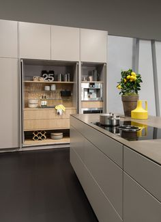 Home - Kitchen Kitchen by Warendorfer Küchen GmbH Major repairs of bathroom unit. Hidden Kitchen, Kitchen Pantry, Kitchen And Bath, New Kitchen, Kitchen Storage, Kitchen Dining, Kitchen Decor, Modern Kitchen Cabinets, Kitchen Furniture