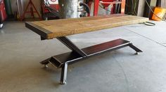 Coffee table from scaffold board & steel.