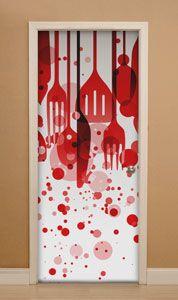 puerta cocina, cocina, tenedor, cuchillo, puerta restaurante, puerta bar, restaurante, cafetería, bar, tapas, cuchara vinilos decorativos, vinilo decorativo, pared, pegatinas