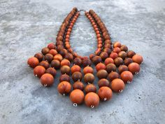 Vintage Kaija Aarikka Bib Necklace - Statement Piece - Orange Wood Beads and Silver Plated Finland / Finnish / Nordic Yule Goat, Hanging Beads, Wooden Beads, Vintage Christmas, Vintage Jewelry, Plating, My Etsy Shop, Beaded Necklace, Jewelry Design
