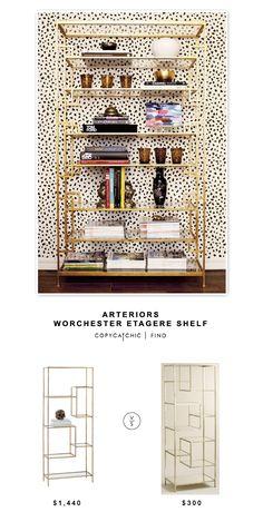 @dominomag Arteriors Worchester Gold Etagere $1,440 vs @worldmarket Burnished Metal and Glass Asymmetrical Kali Shelf $300