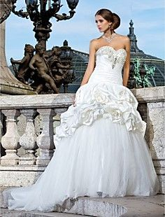 Ball Gown Sweetheart Chapel Train Taffeta And Tulle Wedding ... – USD $ 247.99