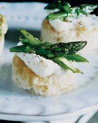 apps Asparagus-and-Ricotta Toasts  Gerard Craft likes using extremely fresh ricotta cheese for his toasts; his favorite kind is from Di Palo Selects in Manhattan. He tops the cheese with sautéed asparagus that he tosses with fresh lemon juice, which brightens the flavors considerably.