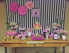Chá de Lingerie Preto e rosa. Decoração Blue Joy Festas e Eventos.