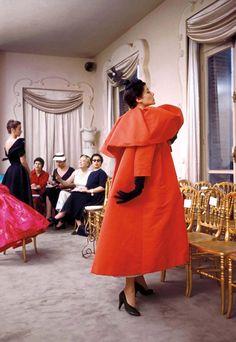 The Balenciaga salon. Photographed by Mark Shaw, 1954.