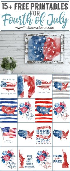 Free Watercolor Fourth of July Printables & Free printable watercolor patriotic art & Farmhouse style of July free printables & DIY watercolor Fourth of July wall decor & Free printable watercolor USA map & Free printable watercolor American flag & Patriotic Crafts, July Crafts, Holiday Crafts, Holiday Fun, Patriotic Wreath, Fourth Of July Decor, 4th Of July Decorations, 4th Of July Party, Diy 4th Of July Bunting