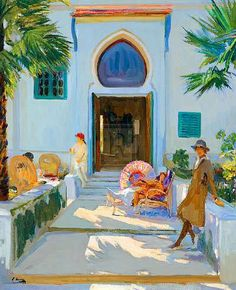 My Studio Door, Tangier by Sir John Lavery 1856 - 1941 - Adore this painting.