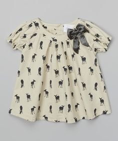 Take a look at this Beige Deer Swing Top by Blossom Couture on #zulily today!